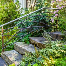 Garden Steps w/ Wrought Iron Railing