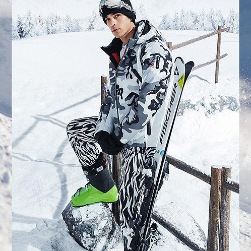 【滑雪系列】男款灰白迷彩鹅绒羽绒外套B00142105