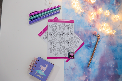 Colour Your Own English Bulldog Planner Sticker Sheet