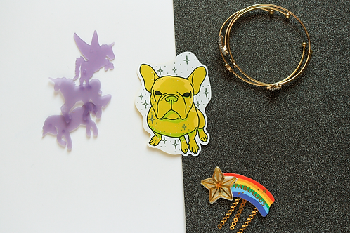 Yellow Yoyo the French Bulldog Frenchie Matt Sticker