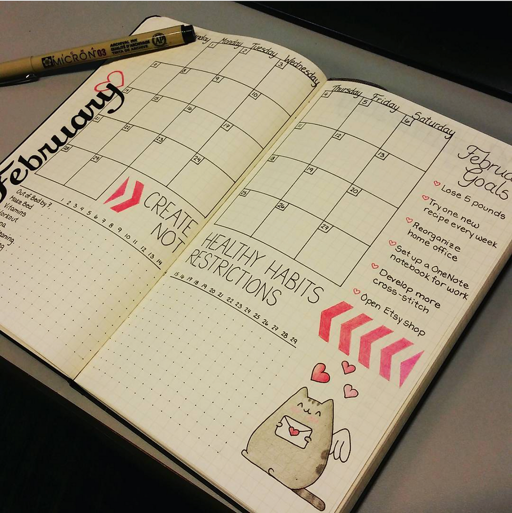 Monthly log view from a bullet journal