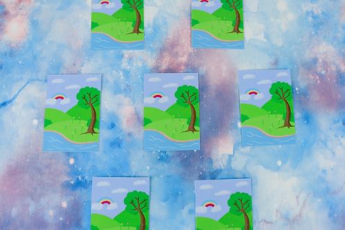 Kawaii Spring Scene Die Cut Sticker Glossy