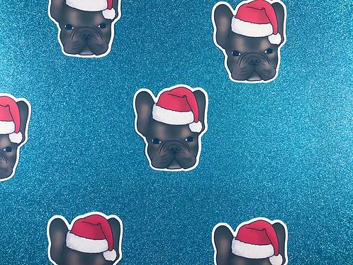 Frenchie Christmas Hat Matt Vinyl Sticker