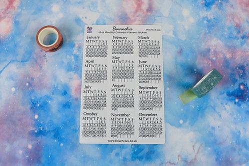 Calendar Months 2021 Planner Sticker Sheet