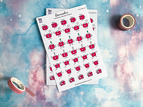 YouTube Planner Sticker Sheet Stickers