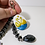 Thumbnail: Swans in Love Cameo Keyring with Metal Beaded Charms