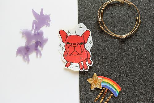 Pink/Red Yoyo the French Bulldog Frenchie Matt Sticker