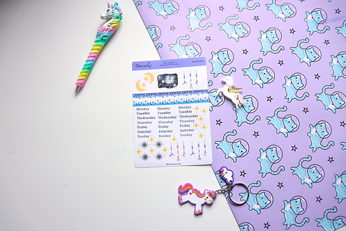Moon and Stars plus Days Planner Sticker Sheet