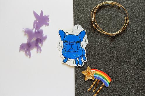 Blue Yoyo the French Bulldog Frenchie Matt Sticker