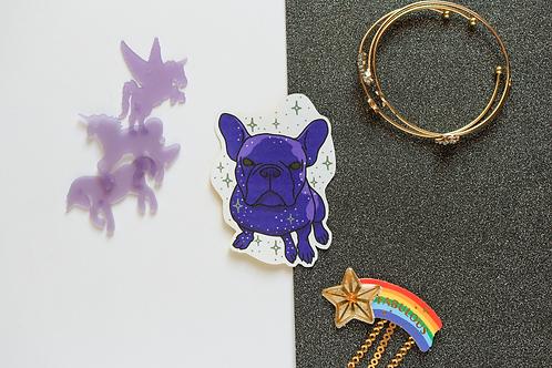 Purple Yoyo the French Bulldog Frenchie Matt Sticker