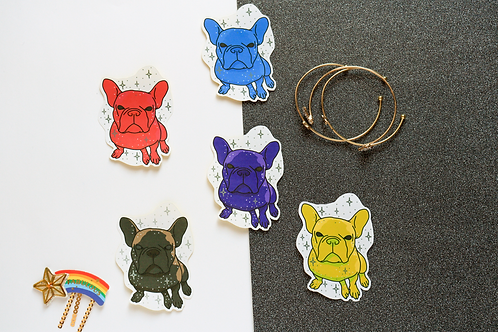 5x Multicoloured Yoyo the French Bulldog Frenchie Matt Stickers