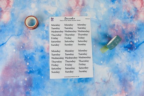 Days of the Week Planner Sticker Sheet