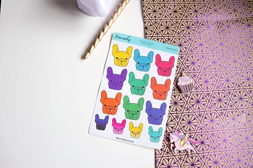 Brightly Coloured French Bulldog Frenchie Planner Sticker Sheet