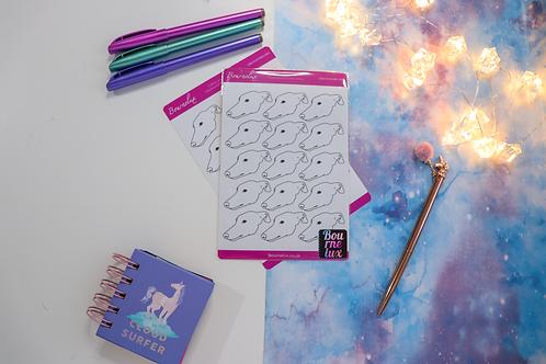 Colour Your Own Greyhound Planner Sticker Sheet