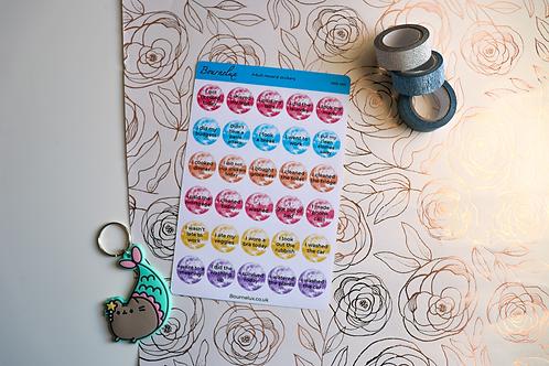 Adult Reward Stickers Round Planner Sticker Sheet Colourful Encouraging Stickers