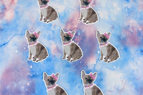 Kawaii French Bulldog Die Cut Sticker Glossy