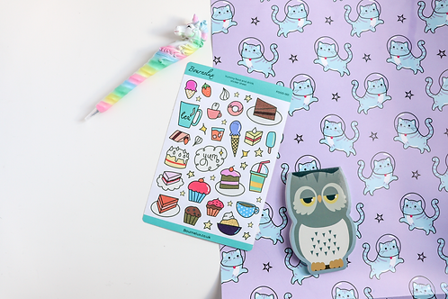 Yummy Food and Drink Planner Sticker Sheet Colourful Stickers