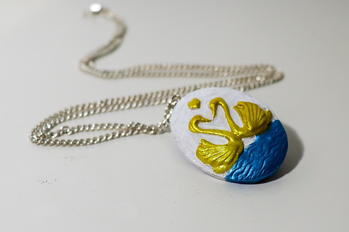 Swans in Love Silver Chain Pendant Necklace Spring Ring Clasp Blue Gold White