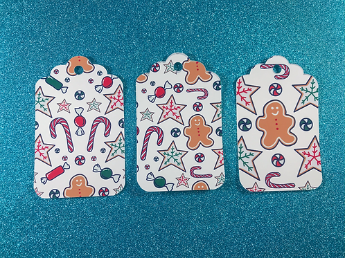 Set of 3 Gingerbread Sweets Christmas Gift Tags