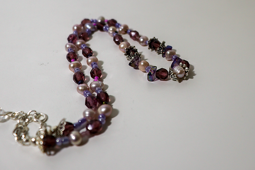 Purple Beaded and Pearl Necklace