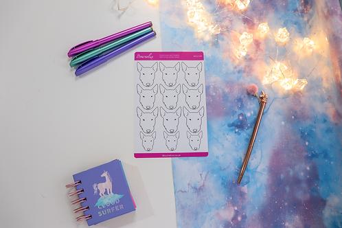 Colour Your Own English Bull Terrier Planner Sticker Sheet