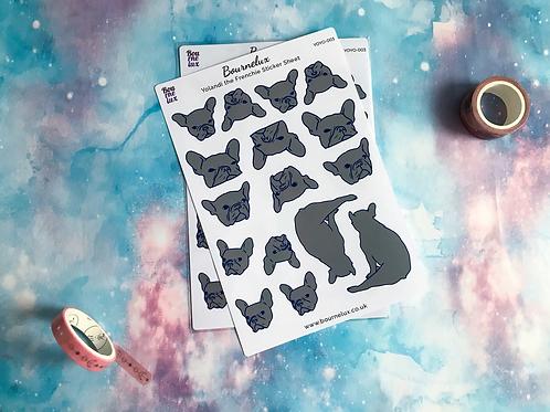 Yoyo the Frenchie Planner Sticker Sheet Stickers