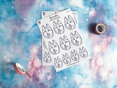 Colour Your Own Husky Planner Sticker Sheet