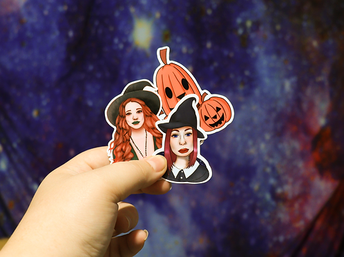 Halloween Sticker Pack Glossy Pumpkin and Two Witches