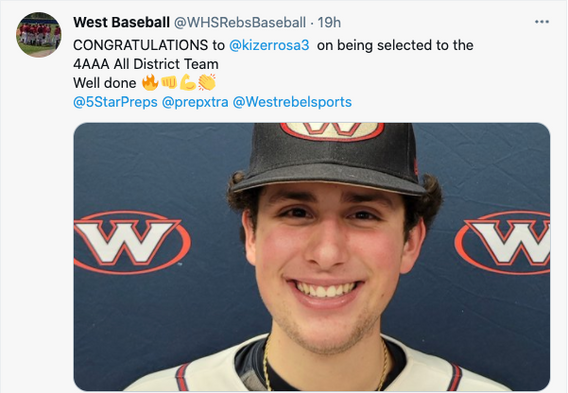 Congratulations Kiser on earning 4AAA All-District Team Honors