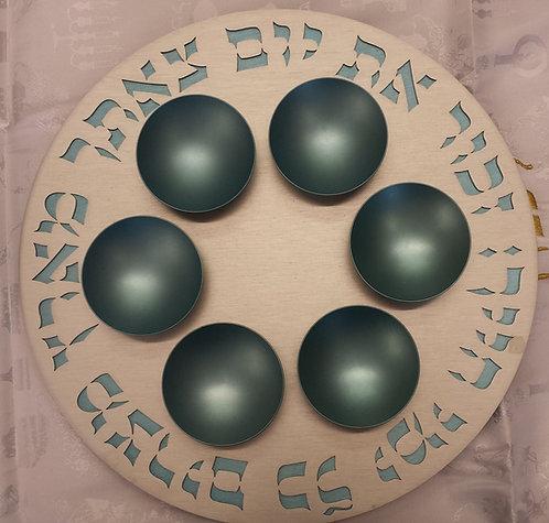 Agayof Aluminium Seder Plate - Teal
