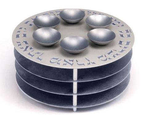 Agayof 3 Tier Seder Plate - Grey