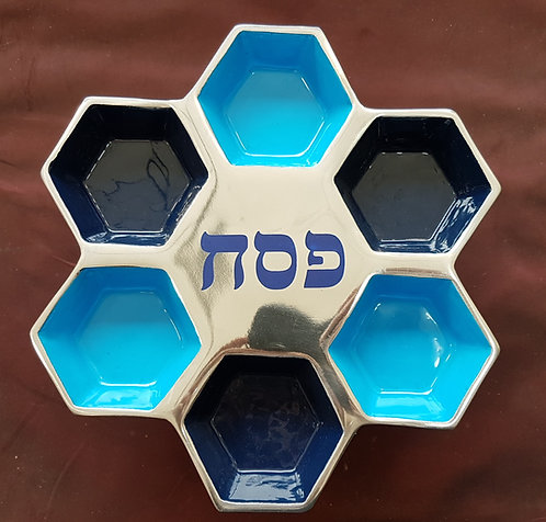 Metal Seder Plate on stand - Blue