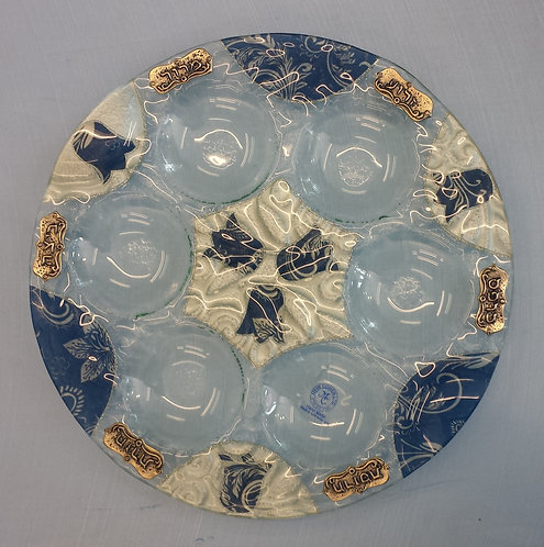 Glass Seder Plate Blue Flower