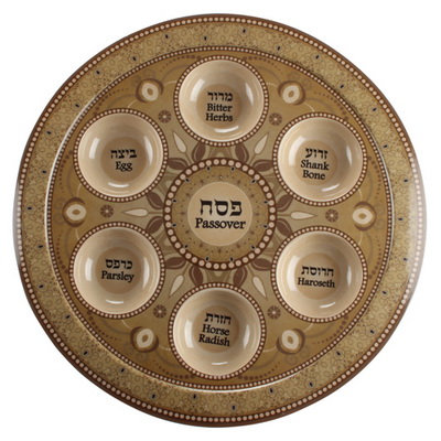 Bamboo Fiber Passover Plate 35 cm- Brown