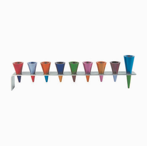 Aluminum Menorah with Cone Candleholders Colour