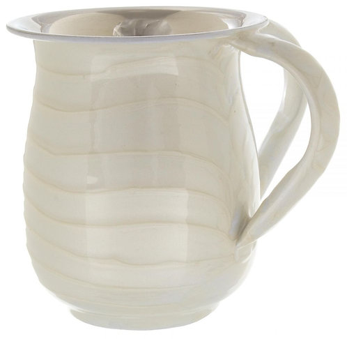 Stainless Steel Washing Cup 13cm Enamel Waves White