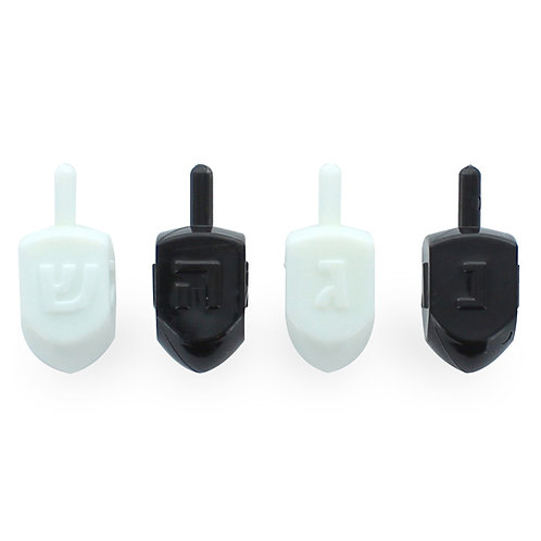 Pack of 4 Black & White Gloss Dreidels
