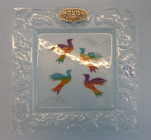 Glass Matza Plate Colour Birds