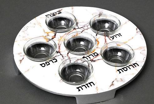 """Enamel """"Marble effect"""" Seder Plate"""