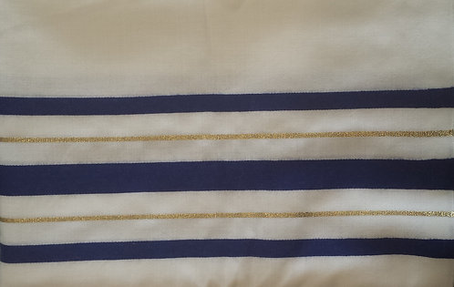 Tallis - Prayer Shawl Blue/White & Gold