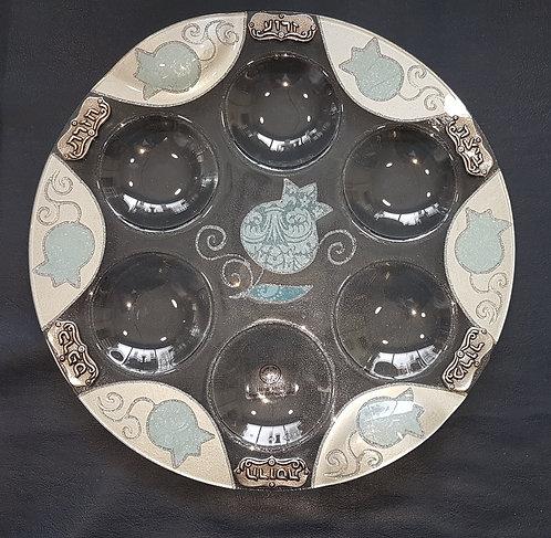 Glass - 36cm - Light Blue Pom