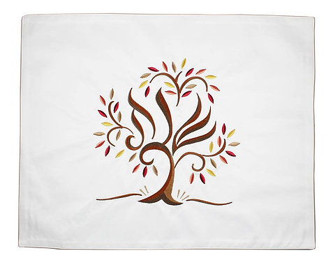 Luxurious Embroidered Challah Cover - Tree of Life Earthtones