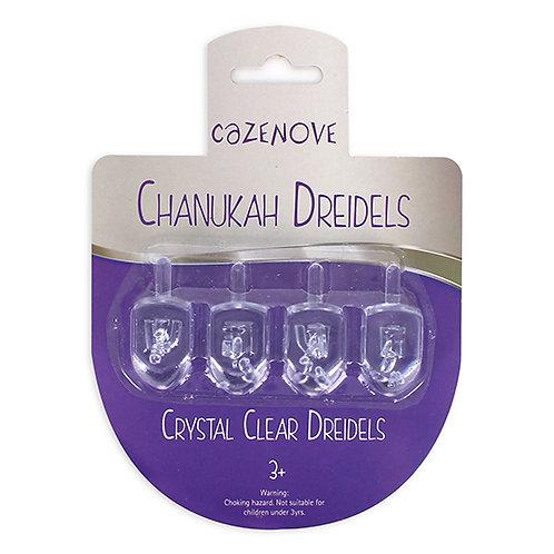 Pack of 4 Crystal Clear Dreidels