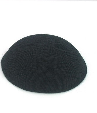 DMC black kippa - large 16cm