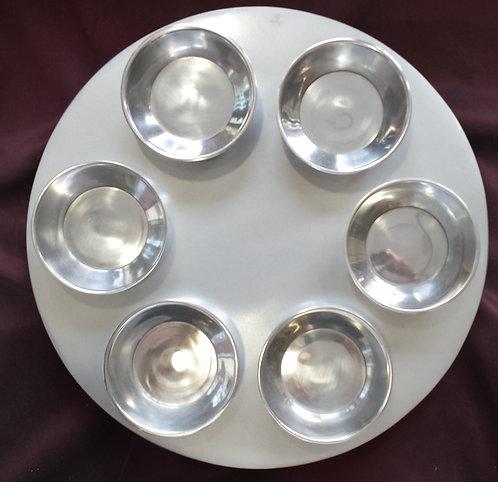 Emmanuel Aluminium Silver Seder Plate
