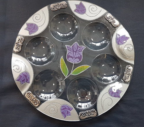 Glass - 36cm - Purple Flowers