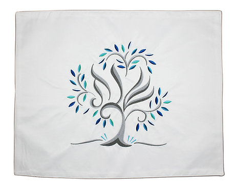 Luxurious Embroidered Challah Cover - Tree of Life Blues