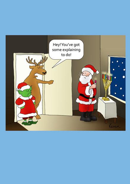 Karen Keet Single Santa's Secret chanukah card