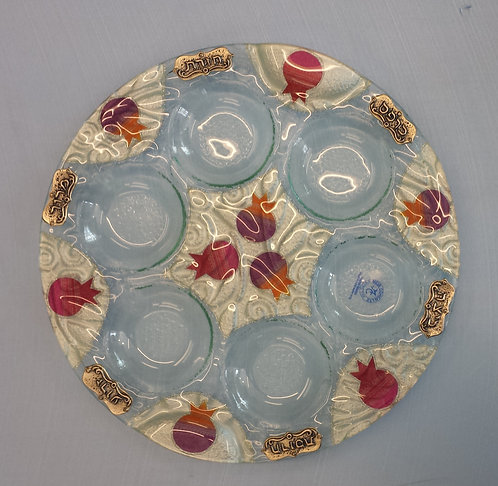 Glass Seder Plate Colour Pom