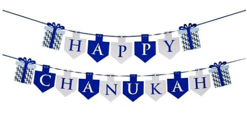 """""""Happy Chanukah"""" Blue and Silver Banner"""